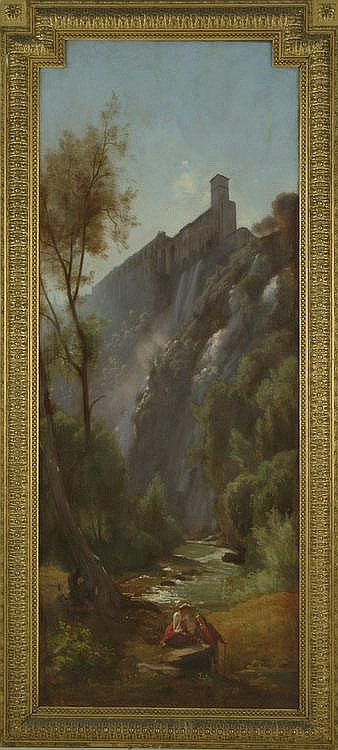 Landscape, Italy view, Souvenir de Tivoli, View of Tivoli, by François Louis Français. Oil on canvas, signed on the lower right. This painting was sold during the Galliera sale. Farmer Pierre Miquel collection