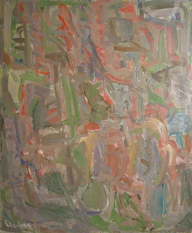Sans titre, Untitled, by David Lan Bar 1912-1987, OIl on canvas, signe dand dated on the lower left. Signed and dated on the back.