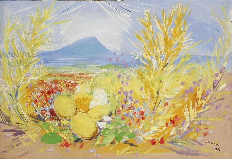Still life, Fleurs et citrons devant la mer 1947, Flowers and Lemons in front of the sea , by Ismael La Serna 1897 - 1968, oil on canvas. On the verso portrait of a Spanish woman in the street, undrer arcade. Small damages. Signed and dated onthe