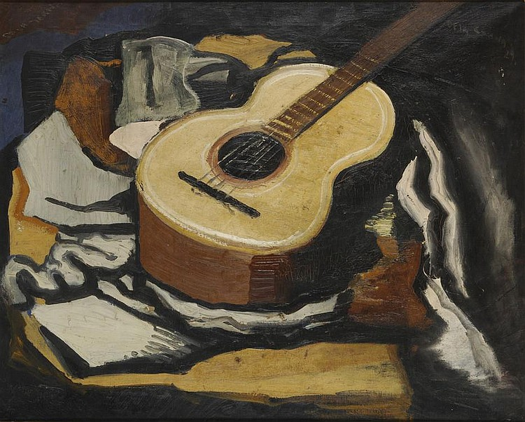 Still life, Interior with a guitar, 1929, by Ismael La Serna  1897 - 1968, oil on canvas, signed on the top left, and signed and dated on the lower right.