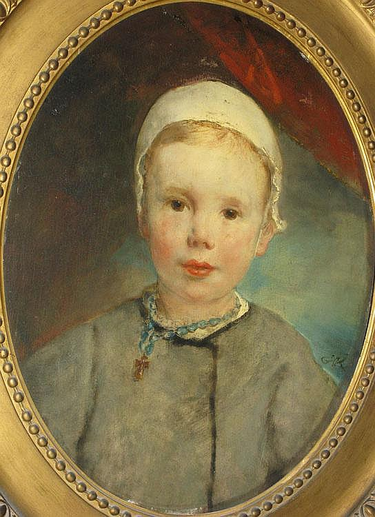 Enfant au bonnet (Child wearing a bonnet), by RICARD Louis Gustave, 1823 - 1873. Oil on oval panel (light cracks), monogram on the lower right : G.R.