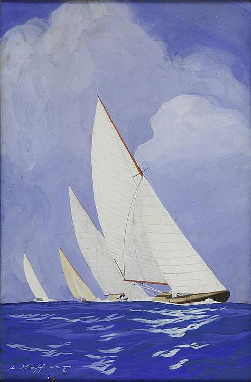 Marine, Yacht race, by Leon Haffner, gouache signed on the lower left. Titled on the back