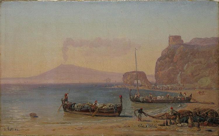 LOTTIER Louis, 1815 - 1892 - Fishermen in Napoli Bay