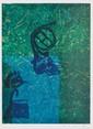 ERNST Max, 1891-1976 Crâne au cor de chasse, Surprise du hasard lithographie unique en bleu et vert, signée en bas à droite, au dos du montage : litho¬graphie unique de Max Ernst due aux Sur¬prises du hasard Atelier Pierre CHAVÉ VENCE. 17,5 x 13,5