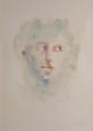 FINI Léonor, 1908 -1996 Visage aux yeux tournés lithographie en couleurs (insolation), signée en bas à droite. à vue : 58 x 43,5 cm.