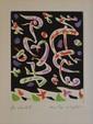 MASSON André, 1896 -1987 Composition eau-forte en couleurs E.A. (légère inso¬lation), signée en bas à droite. 13,5 x 11,5 cm.