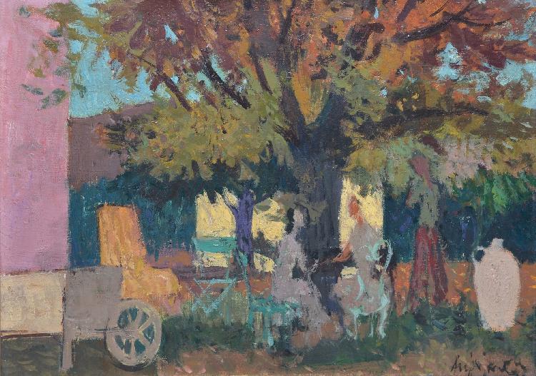 Aujame jean 1905 1965 trois femmes au jardin huile sur toi for Toile tendue jardin
