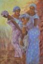 BERNAUDIN Armelle, XXe -XXIe siècles Quatre africaines pastel, signé en bas à gauche. 145 x 102 cm.