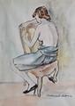BERTHOMMÉ-SAINT-ANDRÉ Louis, 1905 -1977 Modèle à la chaise aquarelle, monogramme en bas à droite. 31,5 x 24 cm.