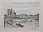 BUFFET Bernard, d'après Notre-Dame et la Cité, 1985 gravure d'interprétation en couleurs sur Japon, édition atelier Magui, n° 33 / 100 (rousseurs), signée en bas à droite. 43,5 x 60 cm.