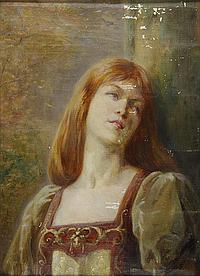 Paul Dominique Philippoteaux's studio Young lady wearing a medieval dress - Jeune femme rousse en costume médiéval