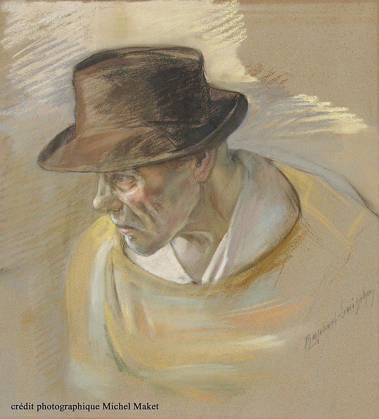 Raphaël Lewisohn. Two pastels a man with a hat