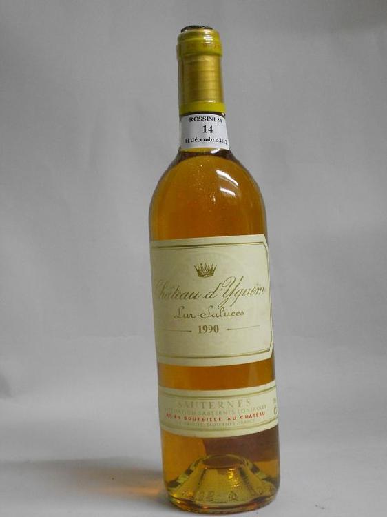 1 bouteille CH. D'YQUEM, 1° cru supérieur Sauternes  1990
