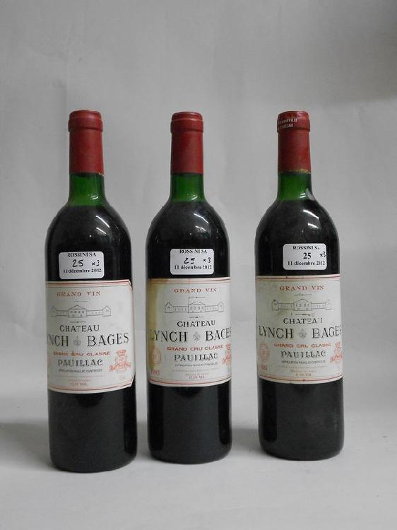 3 bouteilles  CH. LYNCH-BAGES, 5° cru Pauillac   1985