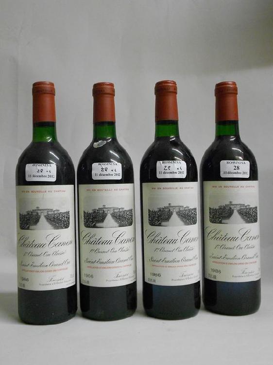4 bouteilles  CH. CANON, 1° Grand Cru St-Emilion  1986