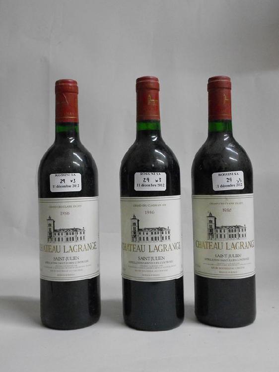 3 bouteilles CH. LAGRANGE, 3° cru Saint-Julien  1986