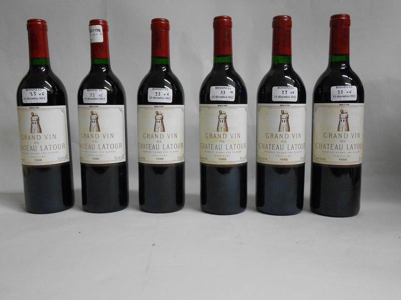 6 bouteilles CH. LATOUR, 1° cru Pauillac  1988