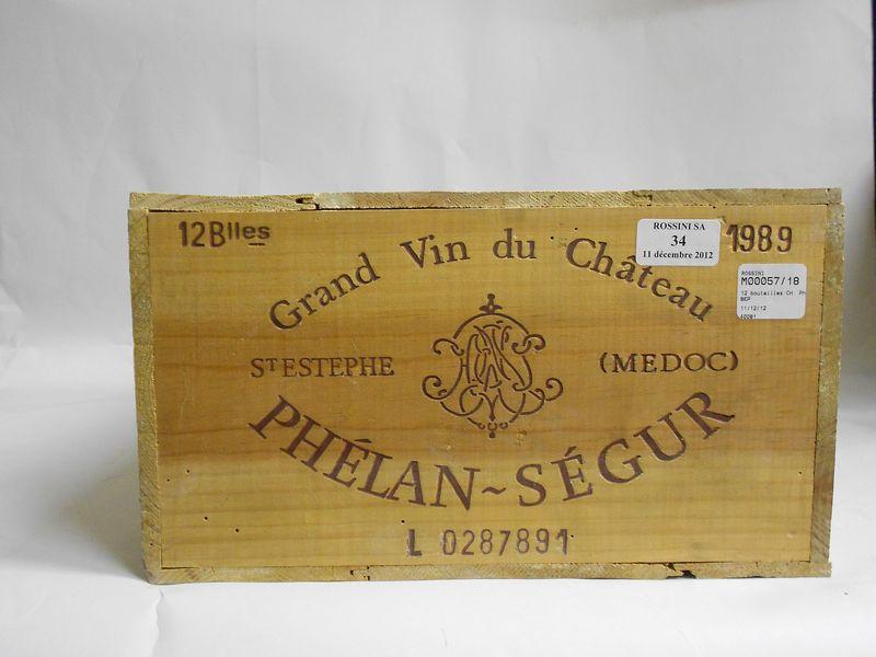 12 bouteilles CH. PHELAN-SEGUR, Saint-Estèphe   1989  cb