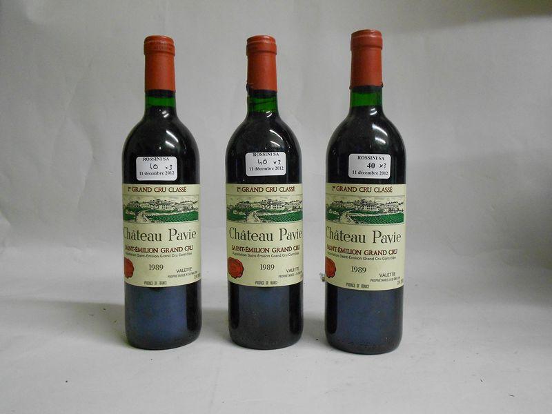 3 bouteilles  CH. PAVIE, 1° Grand Cru St-Emilion   1989