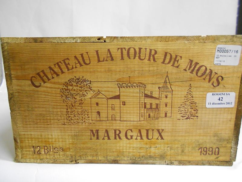 12 bouteilles CH. LA TOUR DE MONS, Margaux  1990  cb