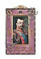 Rectangular frame silver and vermeil gilt silver and enamel. Guilloche Wallpaper purple, imperial crown at the top in red stone and rose cut diamonds.  Ornaments, garlands, wreaths of golden leaves in the corners, adorned with silver ribbons rose