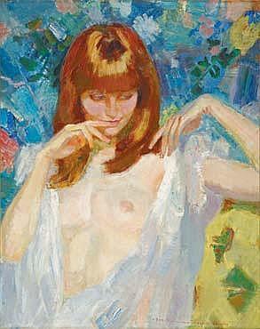 BERTHOMMÉ-SAINT-ANDRÉ Louis 1905 -1977 Le déshabillé au jardin : Eve Huile sur toile (quelques craquelures), signée en bas à droit...