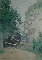 ENJOLRAS Delphin, 1857-1945 Chemin et maison dans une gorge, 1917 Aquarelle, signée et datée en bas à gauche. 36,5 x 25,5 cm.