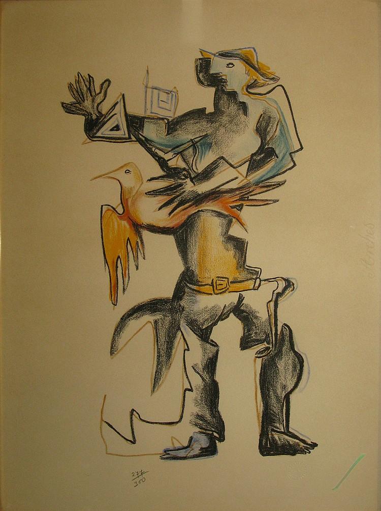 ZADKINE Ossip, 1890 -1967 L'Oiseleur Lithographie en couleurs sur Arches n° 277 - 300 (légère trace d'insolation), timbre à sec de...