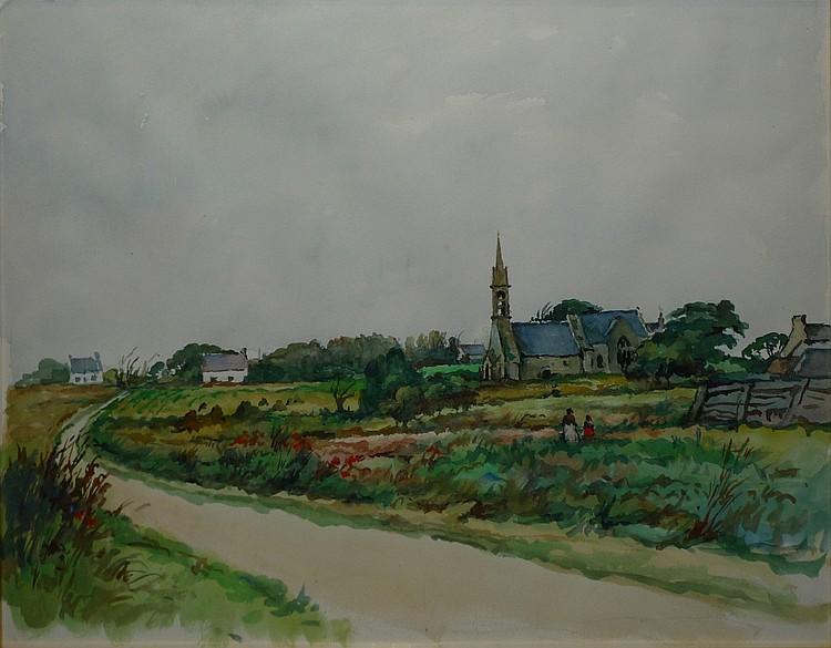 AUBERT René, 1894 -1977 Vieille église bretonne Aquarelle, non signée. 43 x 55 cm.