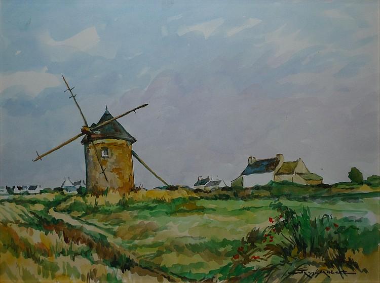 AUBERT René, 1894 -1977 Moulin en Bretagne Aquarelle, signée en bas à droite. 39 x 53 cm.