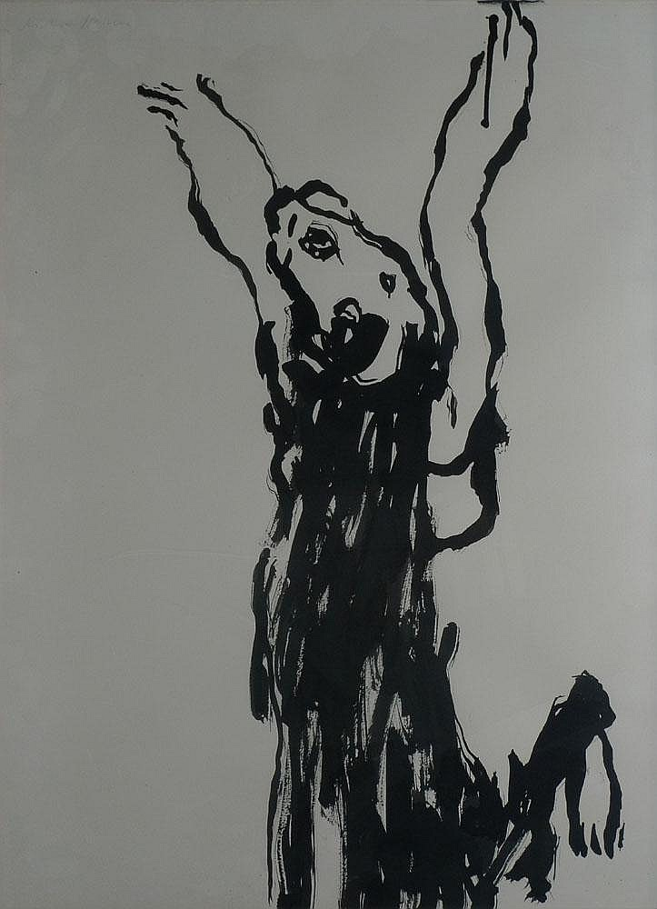 BILAN Richard, né en 1946 Imploration Lavis d'encre noire, signé en haut à gauche. 65 x 50 cm.