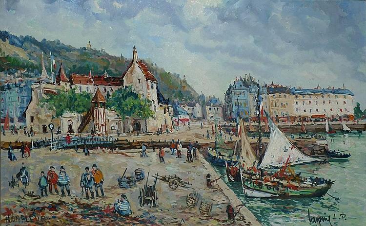 LAVOINE Robert L. P., 1916 -1999 La Lieutenance et le Cheval Blanc à Honfleur Huile sur toile, signée en bas à droite, située en b...