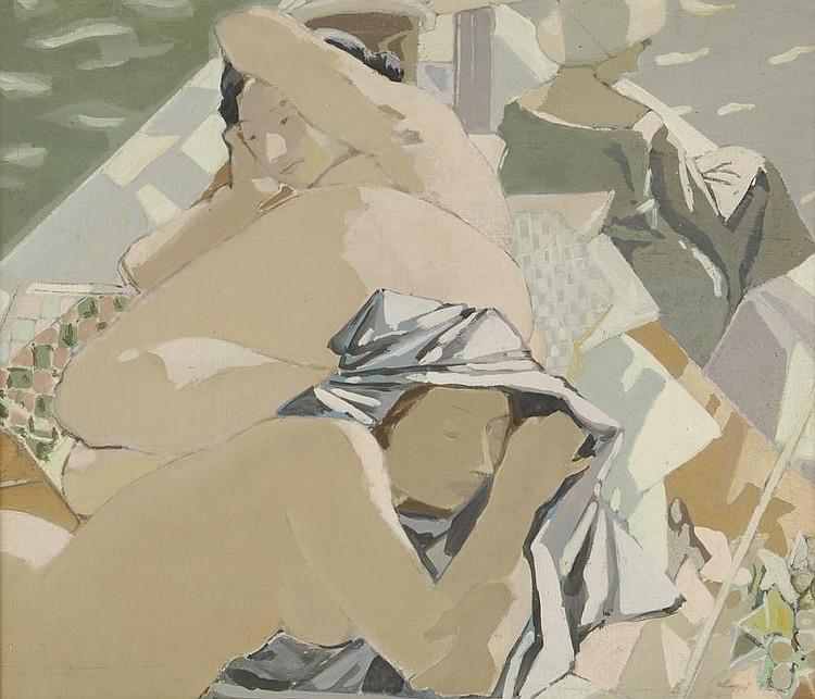 PALAZZI Bernardino, 1907-1987 Baigneuses Huile sur toile rentoilée, trace de signature en bas à droite et date. 60 x 70 cm.