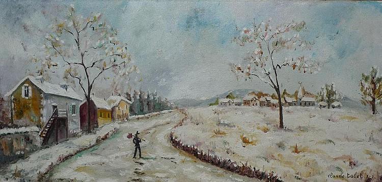 TABET Claude, 1924 -1979 Plein hiver Huile sur toile, signée en bas à droite, signée et titrée au dos. 40 x 80 cm.