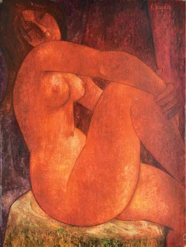 Francisco BAJEN   Nu orange  peinture sur toile (petit accident), signée en haut à droite,  73 x 54 cm.