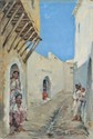 Alfred CHATAUD   Femme dans une rue en Orient  huile sur carton toilé, signé en bas à droite,  25 x 17 cm.