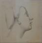 ÉCOLE FRANÇAISE début XIXe siècle  Profil de jeune femme au bonnet  dessin au crayon noir et estompe (traces de salissures et insolation), non signé,  29,5 x 29 cm.