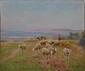 Edouard PAIL   Bergère et son troupeau  huile sur toile, signée en bas à droite,  46 x 55 cm.