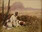 Eugène PETIT   Deux chiens de chasse  huile sur toile (restauration), signée en bas à droite,  19 x 24 cm.