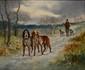 GODCHAUX  Deux chiens en arrêt - Chasseur en hiver  deux huile sur toiles formant pendants, chacune signée,  46 x 55 cm chaque.