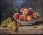 Eugène CLAUDE   Pêches et raisins  huile sur toile (petit manque), signée en bas à gauche,  38 x 46 cm.