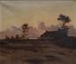 Maurice COURANT   Chaumière au rivage, crépuscule, 1892  huile sur toile (légère griffure et très petit manque), signée et datée en bas à gauche,  54 x 65 cm.