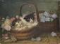 Jules Gustave LE ROY   Deux chatons au panier fleuri  huile sur panneau (manques), signé en bas à droite,  26,5 x 35 cm.