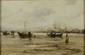 Frank BOGGS   Barques et pêcheurs à marée basse devant un port  huile sur toile (usures et restaurations anciennes), signée en bas à droite,  40 x 61 cm.