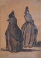 Attribué à Paul GAVARNI  Deux femmes de dos  plume et lavis d'encre brune sur papier beige (accident et pli), non signé,  12,5 x 9 cm.