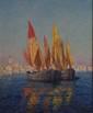 Alexandre ISAÏLOFF   Deux voiliers devant un port du Midi  huile sur panneau (usures), signé en bas à droite,  53,5 x 44 cm.