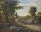HERSON, fin XIXe siècle  Chemin au cavalier  huile sur toile marouflée sur panneau (craquelures, manques, accidents et restaurations), signée en bas à droite,  56,5 x 71 cm.