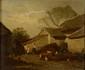 Antoine RICHARD   Enfants dans une basse-cour  huile sur toile (accident), signée en bas à gauche,  33 x 40 cm.