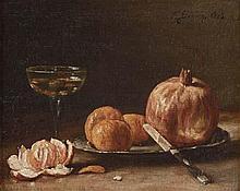 François BONVIN - Oranges et verre de vin blanc...