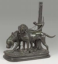 Édouard DELABRIERRE - Deux chiens de chasse - groupe en bronze à...